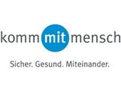 """Logo der DGUV-Kampagne """"kommmitmensch - Sicher. Gesund. Miteinander."""""""