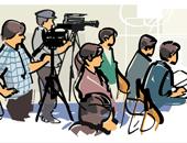 Illustration von Reportern, die an einer Pressekonferenz teilnehmen.